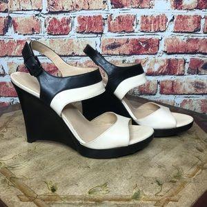 Via Spiga Black & Cream Platform Wedge Sandals
